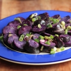 Purple potato salad with lemony vinaigrette