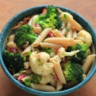 Pasta salad with cauliflower, broccoli and mustard vinaigrette