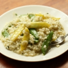 Risotto with sugar snaps and snow peas