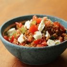 Spelt salad with tomatoes, feta and dill