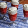 Poached rhubarb with yogurt cream