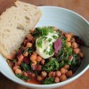 Chickpeas with garden greens