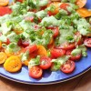 Tomato salad with feta and basil dressing