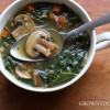 Mushroom, spelt and kale soup