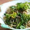 Soba noodles with cabbage and broccoli shoots