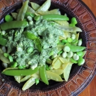 Broad beans and peas salad with basil dressing