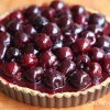 Milk chcocolate sesame cream tart with cherries