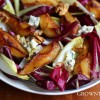 Radicchio and chicory with pan-roasted pears