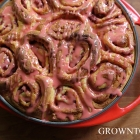 Roasted strawberry cinnamon rolls