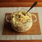 Potato salad with peas, carrots and celeriac
