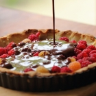 Soft chocolate and raspberry tart