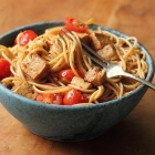 Spaghetti with marinated tofu and tomatoes