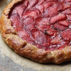 Strawberry galette with basil cream