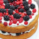 Hazelnut torte with berries
