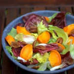 belgian endivi and radicchio salad with persimmon and pecans