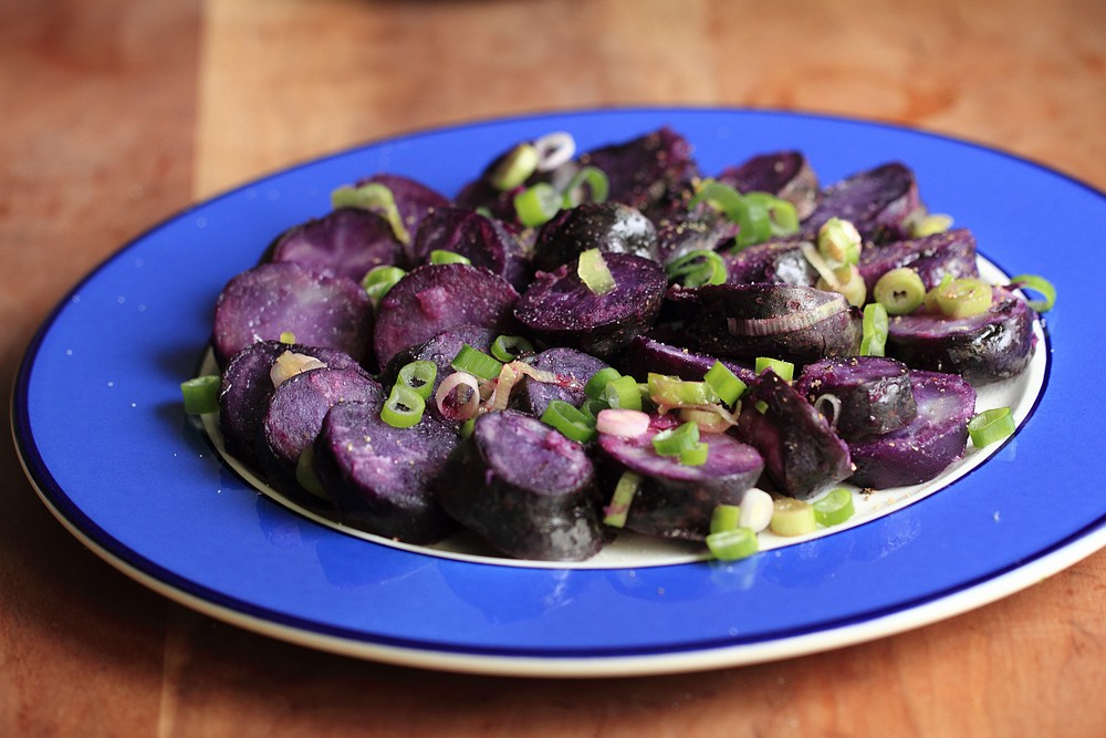 Purple potato salad with lemony vinaigrette | grown to cook