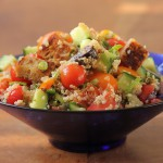 Quinoa and grilled sourdough salad