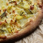 Leek and potato pizza