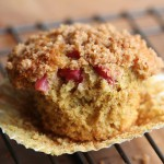 rhubarb streusel whole wheat muffin
