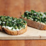 Kale bruschetta with mascarpone