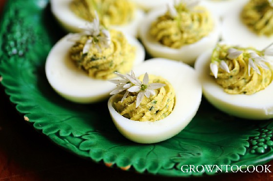 Wild garlic deviled eggs