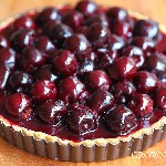 milk chocolate sesame cream tart with cherries