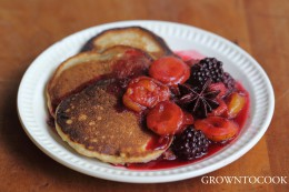 buckwheat pancakes with blackberry and plum compote